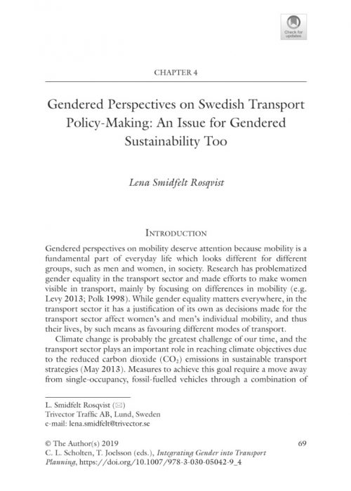 Integrating Gender into Transport Planning