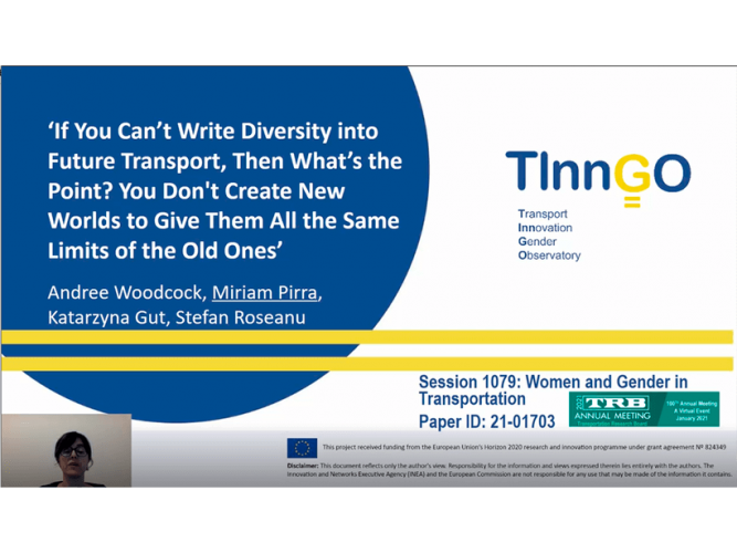 The TInnGO project brings its studies on gender smart mobility to the TRB 100th Annual Meeting